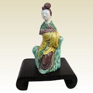 A Miniature Antique Chinese Wucai Porcelain Beauty