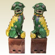 A Great Pair of Vintage Famille Juane or Sancai Foo Dogs Fu Dogs Foo Lions Fu Lions