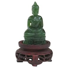 A Tiny Nephrite Jade Thai Buddha On Antique Stand