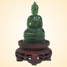 A Tiny Nephrite Jade Thai Buddha On Antique Stand