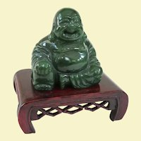 An Excellent Carved Jade Hotei Buddha on Stand