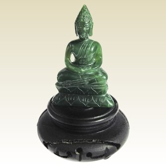 A Nicely Carved Small Jade Dhyana Mudra Buddha on Stand