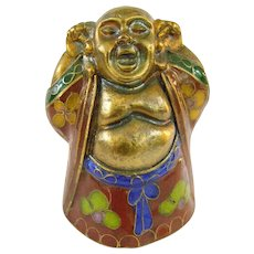 Tiny Gold Gilt Cloisonné Buddha Hotei Figure
