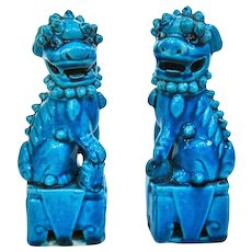 A Pair Of Antique Peacock Blue Chinese Foo Dogs