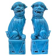 A Vintage Pair of Miniature Peacock Blue Chinese Foo Dogs