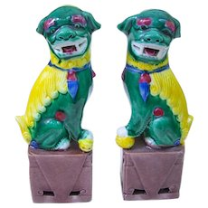 A Vintage Pair of Miniature Sancai Chinese Foo Dogs