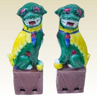 A Vintage Pair of Miniature Sancai Chinese Foo Dogs