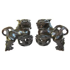 A Pair of Vintage Hand Carved Wooden Foo Dogs