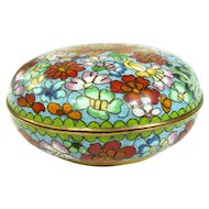 A Colorful Vintage Chinese Cloisonné  Powder Jar