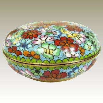 A Colorful Vintage Chinese Cloisonné  Powder Jar