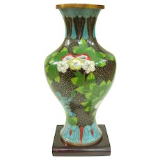 A Striking Antique Chinese Brocade Cloisonné Vase On Stand