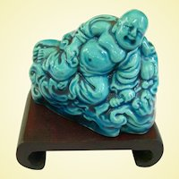 Antique Peacock Blue Buddha On Stand