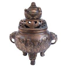 A Vintage Buddha Top Censer Incense Burner