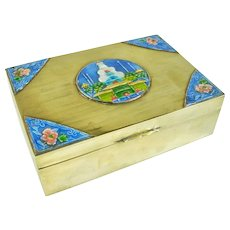 A Wonderful Antique Chinese Brass and Enamel Box