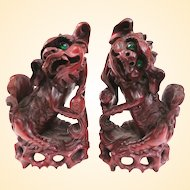 An Exceptional Pair Of Old Hand Carved Boxwood Foo Dogs or Foo Lions