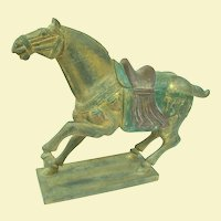 An Old Chinese Wooden Polychrome Tang Style Horse