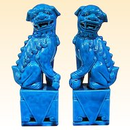 Vintage Chinese Peacock Blue Foo Dogs Fu Dogs Foo Lions Fu Lions