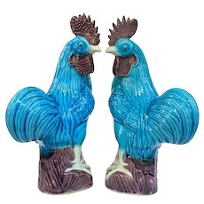 A large Pair Of Vintage Chinese Peacock Blue Chickens