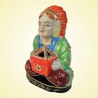 Adorable 1950s Moriage Incense Burner, Occupied Japan American Indian Motif