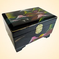 A Vintage Black Lacquer Japanese Musical Jewelry Box