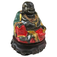 An Unusual Vintage Composition Buddha On Rosewood Stand