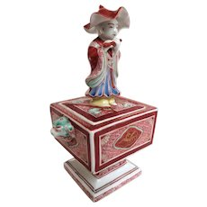 Fantastic Occupied Japan Figural Porcelain Incense Burner Koro