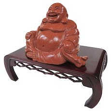A Wonderful Goldstone Carved Hotei Buddha and Rosewood Stand