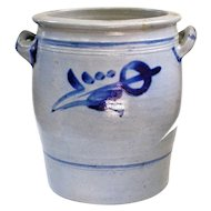 Old Westerwald Blue Slip Salt Glaze Pottery Crock
