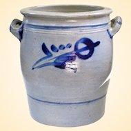 Old Westerwald Blue Slip Salt Glaze Pottery Crock