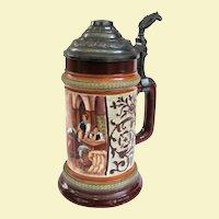 Antique German HR Hauber & Reuther Porcelain Beer Stein #188/133 Circa 1890