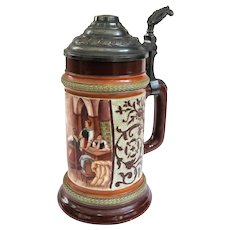 Antique German HR Hauber & Reuther Porcelain Beer Stein #188/133 Circa 1890