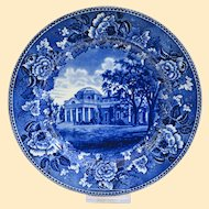 Outstanding and Beautiful Old Wedgwood Commemorative Plate Thomas Jefferson's Monticello
