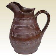 Old Unmarked French Gres Du Berry Stoneware Salt Glaze Farm Pitcher