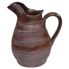 Old Unmarked French Gres Du Berry Stoneware Salt Glaze Farm Pitcher