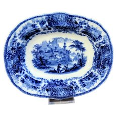 "Antique Burgess & Leigh Middleport ""Nonpareil"" Pattern Flow Blue 7.5 x 9.5 Shallow Serving Bowl"