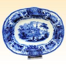 "Antique Burgess & Leigh Middleport ""Nonpareil"" Pattern Flow Blue 7.5 x 9.5 Shallow Serving Bowl"
