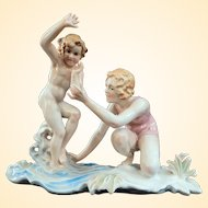 Poignant Vintage Karl Ens Porcelain Group Mother And Child At The Beach