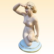 Tettau Gerold & Co. Porcelain Art Deco Nude Figurine 1937-1949