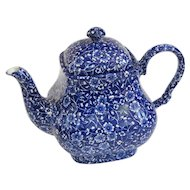 Vintage English Queen's Calico Blue Chintz Teapot