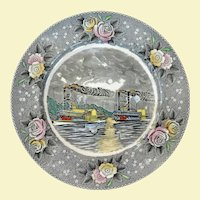 Vintage Adams Currier and Ives Display Plate Paddle Wheel Steamers, Circa 1940