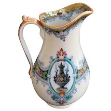 An Unusually Colorful Victorian Ironstone Pitcher