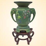 Beautiful Vintage Japanese Matte Green Art Pottery Vase On Stand