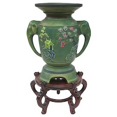 Beautiful Vintage Japanese Matte Green Art Pottery Vase On Stand