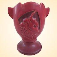 An Interesting Roseville Silhouette Oak Leaf Vase in Matte Burgundy C1950