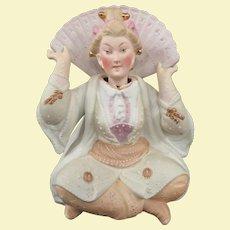 Excellent Antique German Bisque Asian Motif Porcelain Nodder