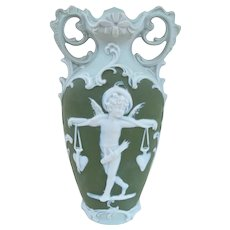 Cute Antique Green German Jasperware Cupid Vase