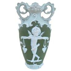 Cute Antique Green German Jasperware Cupid Vase