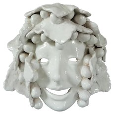 Vintage Italian Bacchus Pottery Grapes and Leaves Mask Wall Hanging