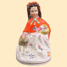 Adorable Antique Staffordshire Red Riding Hood Figure With Dog