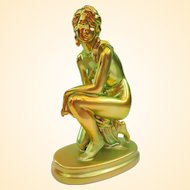Lovely Zsolnay Eosin Glaze Art Deco Porcelain Nude